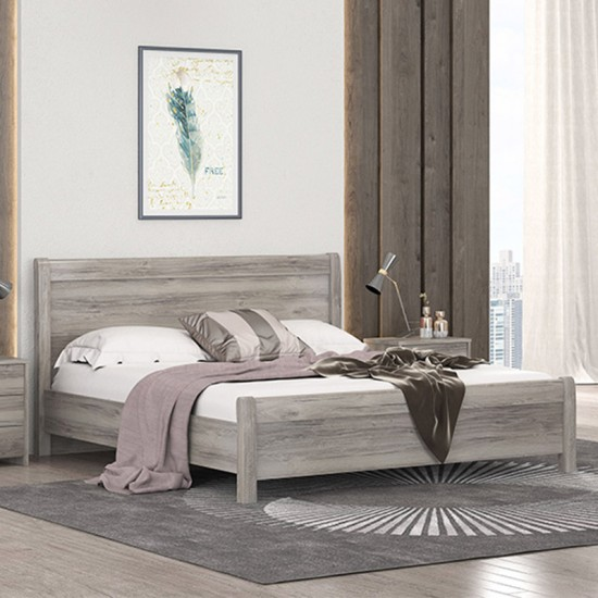 Laminated king size bed with solid wood