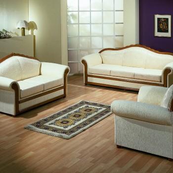 Round set of wooden sofas